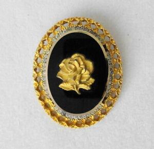 Signed CELEBRITY by D /& E Juliana Vintage Cameo Pin Pendant BOOK Piece