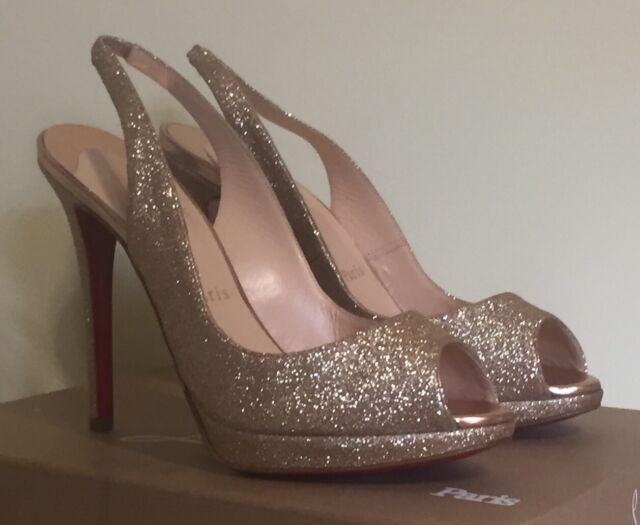 df6457eafbe ... official store authentic new christian louboutin yolanda glitter  platform pump heel sandal 38.5 683a9 341f1