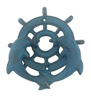 Door Knocker - Dolphins With Ships Wheel - Cast Iron - Blue Verdigris on sale