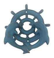Door Knocker - Dolphins With Ships Wheel - Cast Iron - Blue Verdigris