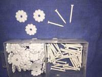 50 Mobile Home Rv White 1-1/8 Ceiling Rosettes Buttons Stars W/screws