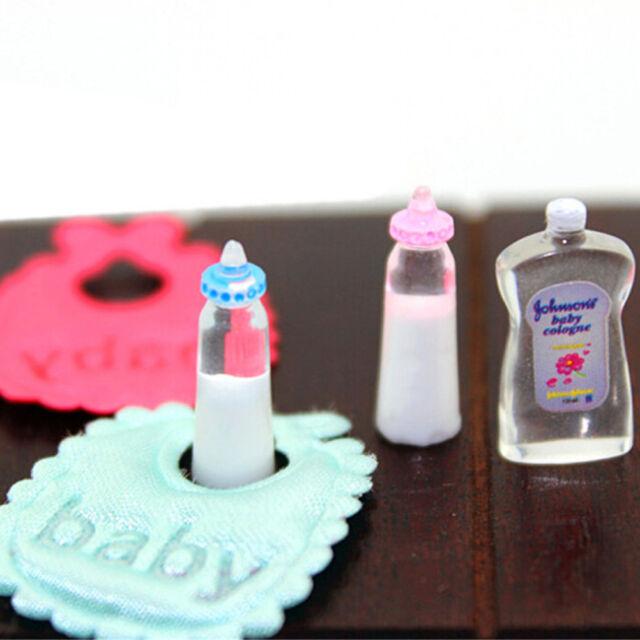 1:12 Dolls House Miniature Baby Bottles Shampoo Bibs Set Nursery Accessory ATAU