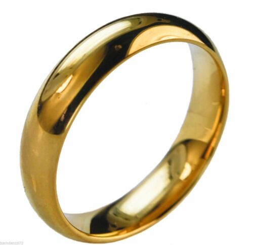 Ladies 5mm Wedding Band Smooth 18K gold overlay ring size 6 HW