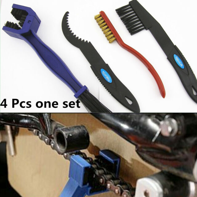 4x Motorcycle Chain Gear Cycle Brake Oil Dirt Rust Cleaning Brush Remover Tools