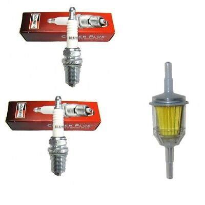 2 NEW Champion RC12YC spark plug /& Fuel Filter for Lawn Mowers