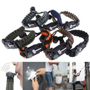 5 in 1 Outdoor Survival Gear Escape Paracord Bracelet Flint Whistle Compass ^S