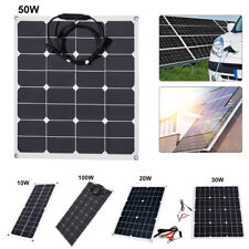 10//50//100W 5V 12V Monocrystalline Solar Panel Battery Charger RV Motorhome Boats