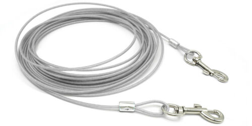 10//16//32ft Dog Leash Tie Out Cable Steel Wire Metal Spiral Pole Heavy Duty Leads
