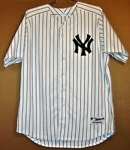 online store 3f7dd 12746 Details about NEW YORK YANKEES #36 WHITE PINSTRIPE BUTTON-DOWN AUTHENTIC  MLB Majestifc JERSEY