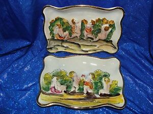 set of two vintage capodmonte italy trinket tray dish Jewelry Dish Porcelain