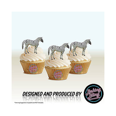 GREY SPOTTED HORSE 12 STAND UPS Edible Image Cupcake Cake Toppers Premium