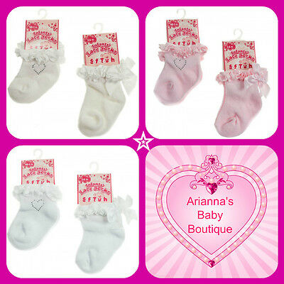 Pink Pretty Baby Girls Lace Rosette Trimmed White Cotton Ankle Socks 0-6 Months