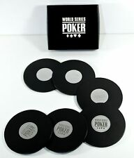 NEW 6 Drink Coaster WORLD SERIES OF POKER Boxed Set Black Chip Man Cave Bar WSOP