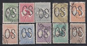 K1088-Australia-1913-1st-wmk-Kangaroos-set-d-to-2-punctured-large-OS