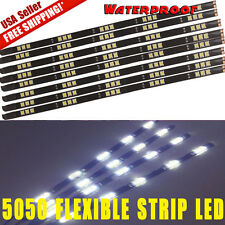 8x Flexible Strip 30cm  White Car Motorcycle 15 LED Lights Waterproof 12V 6000K