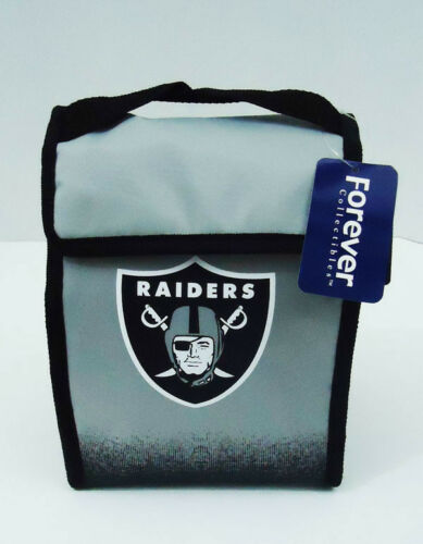 "Oakland Raiders Lunch Bag Cooler Tote New NFL 8"" x 11"" x 4"" Gray"