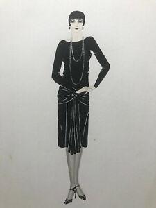 Hand Drawn Pencil Pen Jane Kip Fashion Design Sketch Drawing Lady Pearl Necklace Ebay