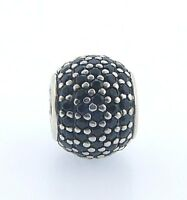 791051nck Retired Pandora Sterling Silver Black Pave Lights Bead In Box