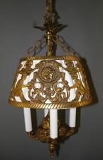 ANTIQUE DECO SPANISH EGYPTIAN REVIVAL FIGURAL DRAGONS CHANDELIER LIGHT FIXTURE