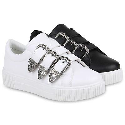 Damen Plateau Sneaker Schnallen Bequeme Freizeit Skater Schuhe 821728 Trendy