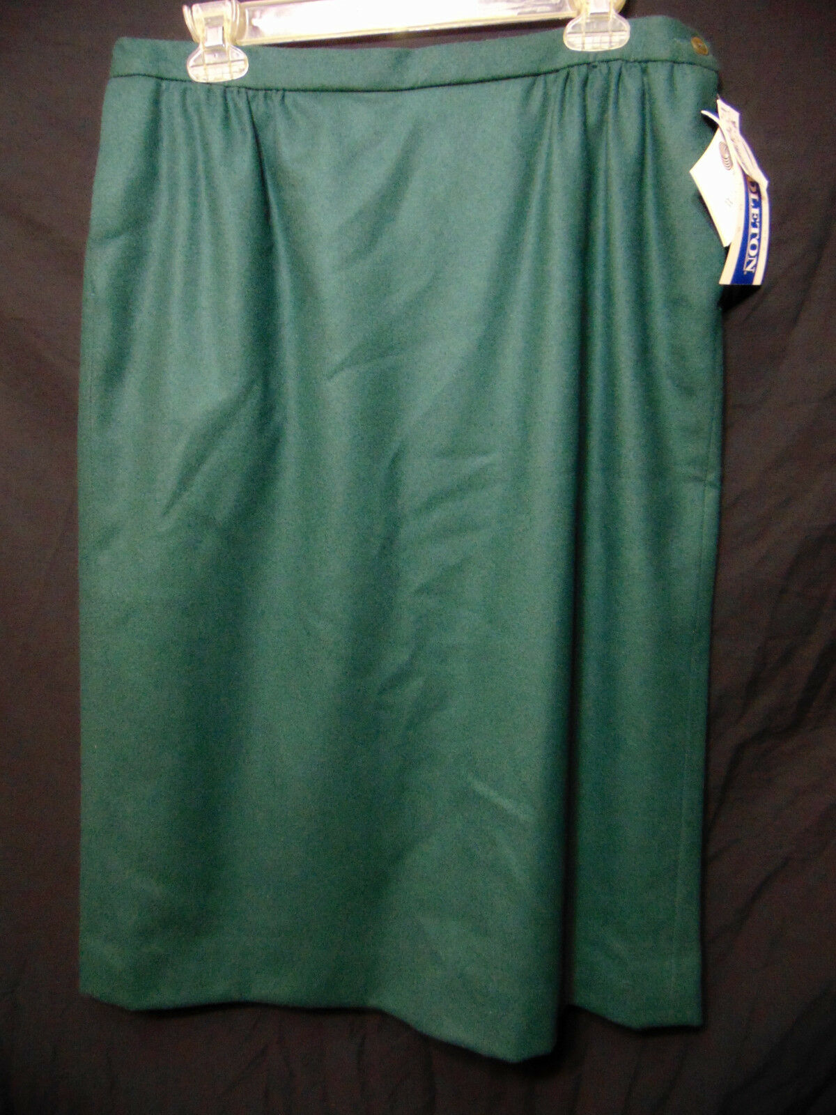 PENDLETON Womens Straight Pencil Skirt Sz 14w Plus Dark Forest Green Wool NEW
