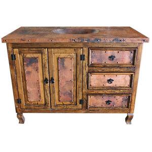 48Copper Top Vanity Copper Doors Single Sink Rustic Western Solid Real Wood