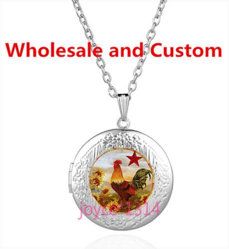 Vintage Rooster Cabochon Tibetan silver Glass Locket Pendant Necklace HZ-4517