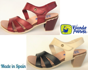 Details about Heel Sandals Leather. Wanda Panda Shoes Made in Spain Winda