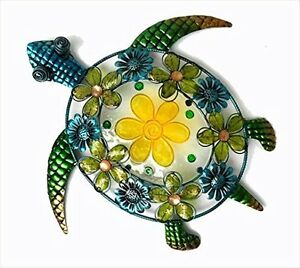 Details About Handcraft Acrylic Beaded Flower Sea Turtle Wall Decor Stained Glass And Metal