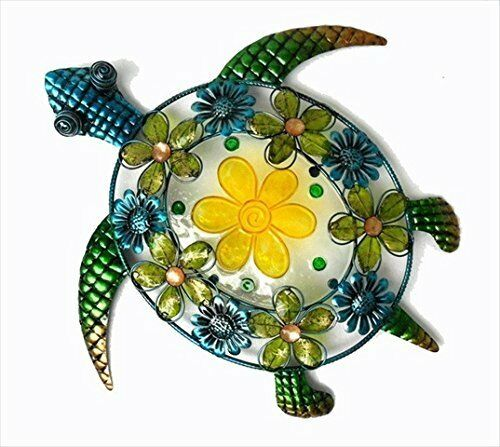 Handcraft Acrylic Beaded Flower Sea Turtle Wall Décor Stained glass and Metal