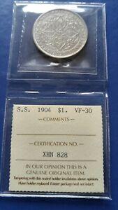 1904-B-STRAITS-SETTLEMENTS-1-Dollar-Silver-Coin-Edward-VII-ICCS-VF-30
