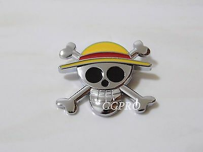 Anime/manga One Piece Luffy's Straw Skull mark BIG size metal badge/brooch!