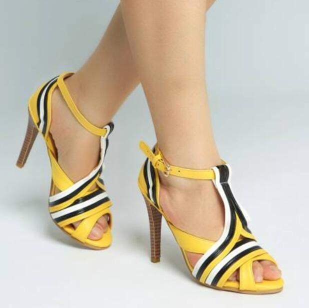 Fashion Womens Strappy Ankle Strap Sandals Summer Retro Sexy High Heel shoes