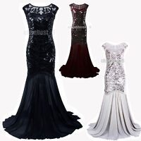 1920s Flapper Wedding Evening Ball Gown Long Bridesmaid Prom Cocktail Dresses