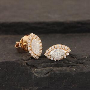 Genuine-White-Topaz-Pave-Diamond-Evil-Eye-Stud-Earrings-18k-Yellow-Gold-Jewelry