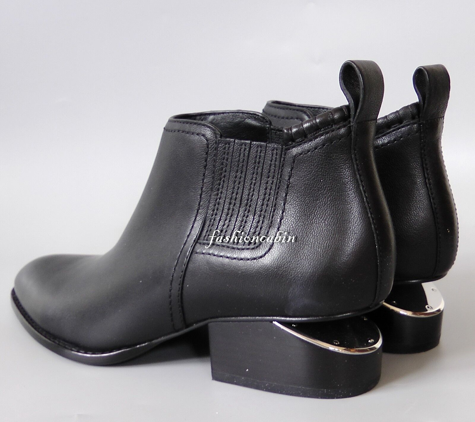NEW ALEXANDER WANG Kori Cut Out Heel Ankle Bootie Shoe, Black Leather