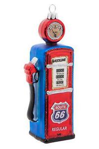 Route 66 Vintage Gas Pump Christmas Glass Ornament