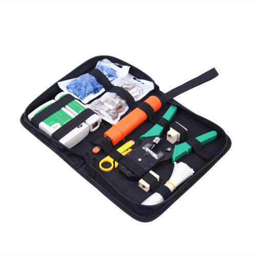 Network Ethernet LAN  RJ-45 RJ-11 RJ-12 Cat5e Cat6 Cable Tester Crimper Tool Kit