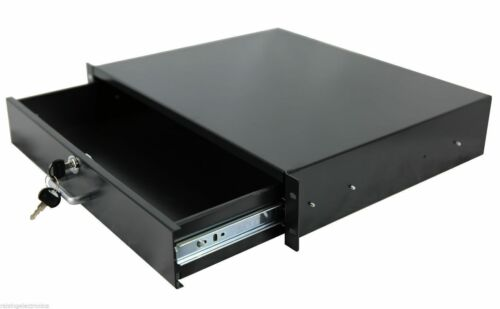 "2U Rack Mount DJ 19/"" Rack Case Equipment Deep Drawer 2 Space Locking Lockable"