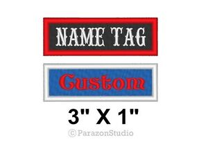 Custom-Embroidered-Name-Tag-Title-Patch-Motorcycle-Biker-MC-Badge-3-034-X-1-034-B