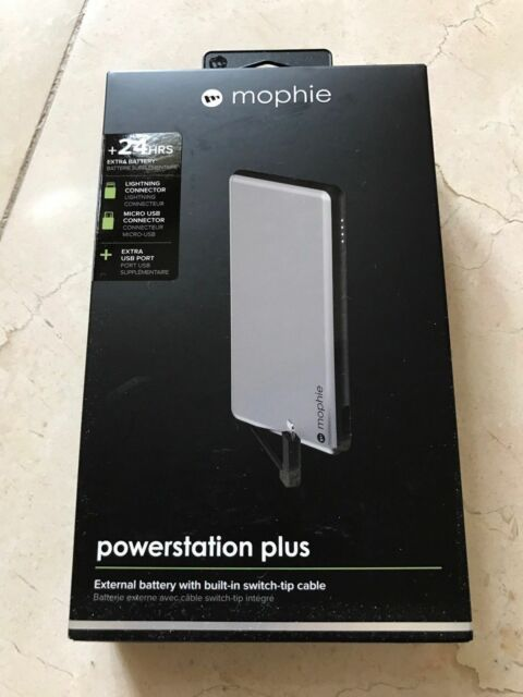 new products dee1f 4b46a mophie Powerstation Plus Power Bank 6,000 mAh for Micro USB & Lightning  Adapter