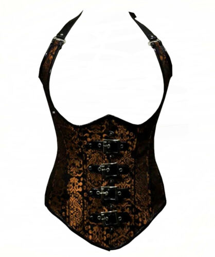 Steampunk Corset Bustier Brocade Cupless Vest Corselette Cosplay Erotic Clothing