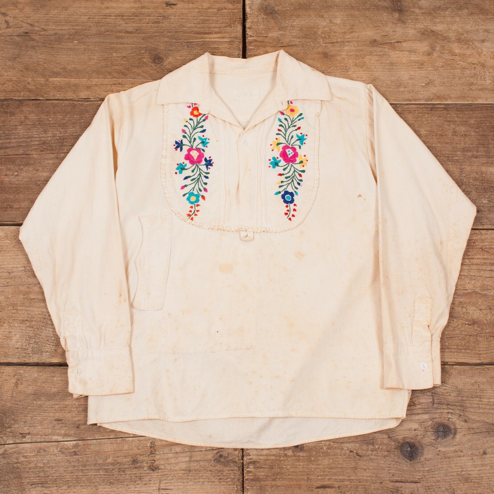 Womens Vintage 1930s Boho Mexican Embroidered Blouse Shirt XR 8601