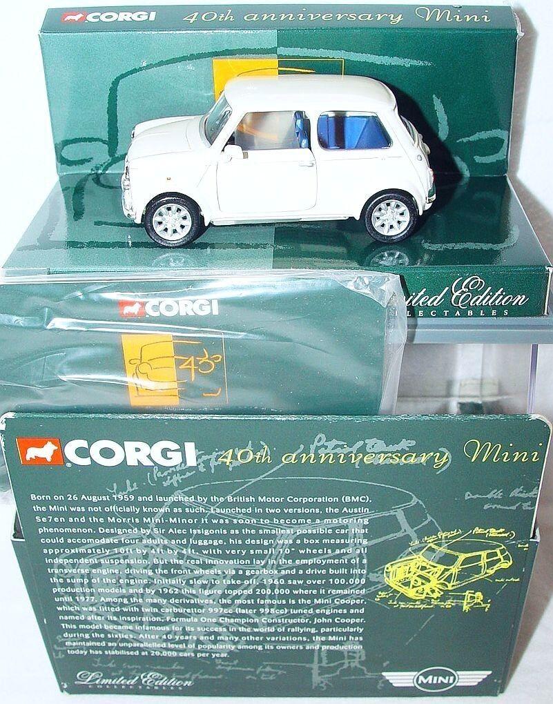 Corgi Toys 1 36 MORRIS MINI COOPER 40th ANNIVERSARY  ENGLISH WHITE  Car MIB`01