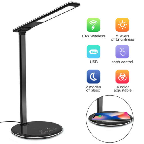UK USB Charge LED Desk Lamp Table QI Wireless Phone Charger Home Reading Light