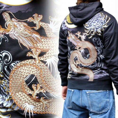 Mens Hoodie Japanese Pattern Embroidery Sweatshirt Jacket Totem Dragon  M-XXL