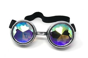 Steampunk-Goggles-Silver-with-Kaleidoscope-Lenses-Rivet-Cyber-Vintage-Glasses-UK