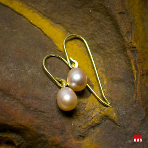 Image Is Loading Pure 14k Gold Dainty Light Weight Pearl Earrings