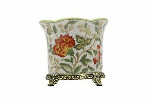 Beautiful-Chinoiserie-Floral-Porcelain-Planter-Orchid-Pot-Antiqued-Brass-Accent