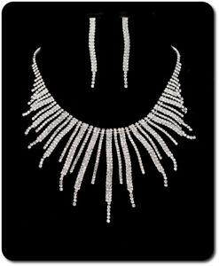 Details zu Luxus Set Halskette Ohrringe Schmuckset Collier Kette Strass Braut Hochzeit BR